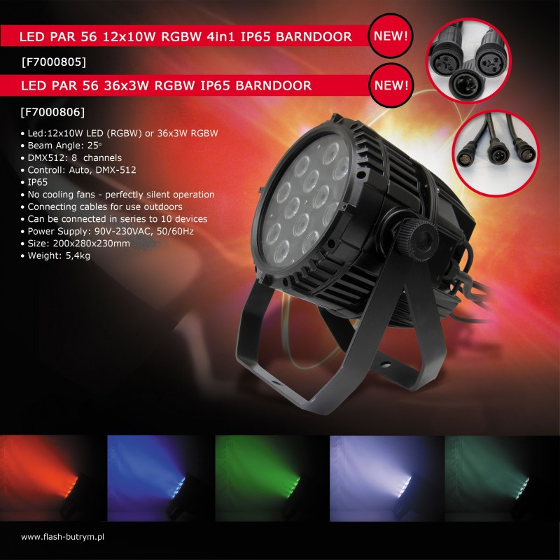 Prožektorius LED PAR 56 36x3w RGBW IP65