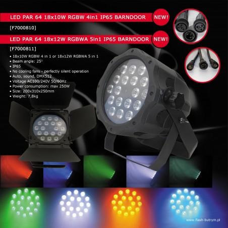 Prožektorius LED PAR 64 18x12W RGBW 4in1 IP65