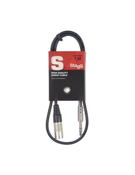 Audio kabelis Stagg 6.35mm Jack TRS- XLR/m 1m