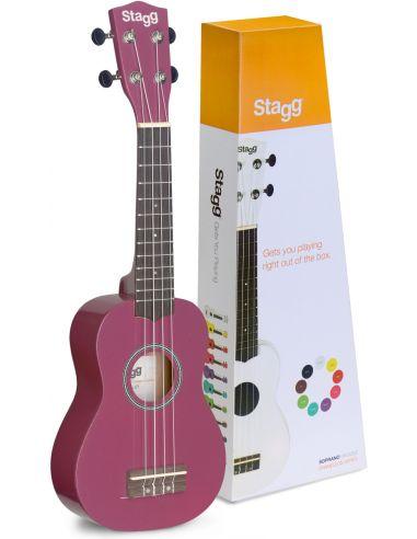 Soprano ukulelė + dėklas Stagg US-VIOLET