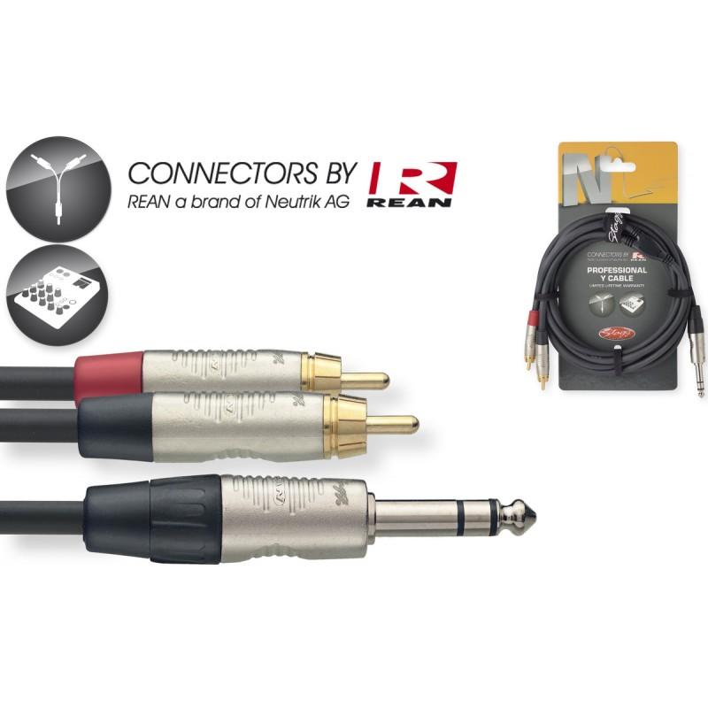 Kabelis REAN JACK 6.3 stereo - 2x RCA/m 3m