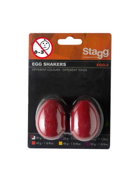 Pair of plastic Egg Shakers Stagg EGG-2 RD