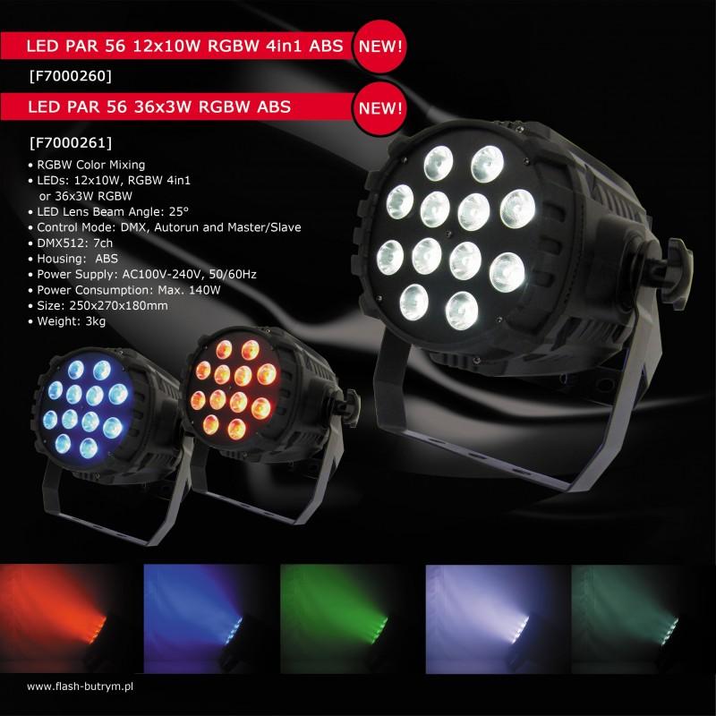 Prožektorius LED PAR 56 36x3W RGBW 4in1 ABS