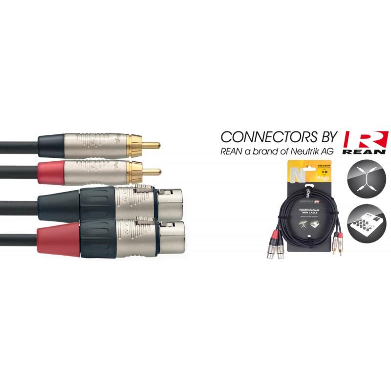 3M/10FT TWIN CBL RCAm-XLRf DLX